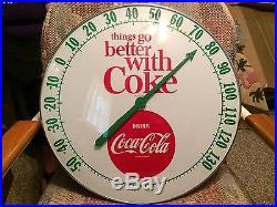 18 Vintage Antique Coke Coca Cola Button Tin Non Porcelain Thermometer Sign NOS