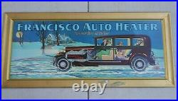 1920s FRANCISCO AUTO HEATER TIN ADVERTISING SIGN VINTAGE CAR SERVICE GAS STATION