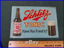 1920s PROHIBITION-ERA VINTAGE SCHLITZ TONIC/FOOD TOC SIGN-9x13-MILWAUKEE-NICE