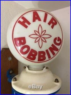 1930'S ORIGINAL BARBER GLOBE GLASS / SIGN, BARBER BOBBING Antique Vintage