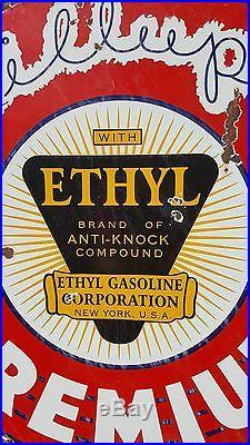 1930's ETHYL Gasoline Billups Premium Porcelain Sign Service Station Gas Vintage