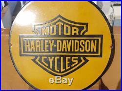 1940's Old Vintage Rare Harley Davidson Motorcycle Porcelain Enamel Sign Board