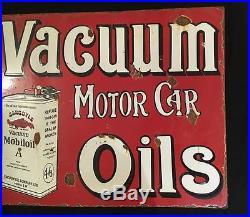 1940's Vacuum Motor Car Oils Vintage Porcelain 2 Sided Flange Enamel Sign