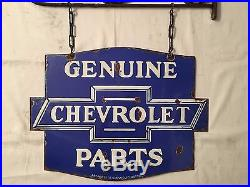 1940's Vintage Porcelain Chevrolet Parts 2 Side with Angle & Chain Enamel Sign