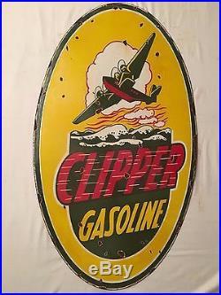 1940's Vintage Porcelain Clipper Gasoline 2 Sided Enamel Sign