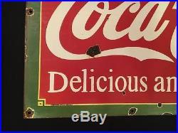 1940's Vintage Porcelain Coca Cola Curb Service Enamel sign