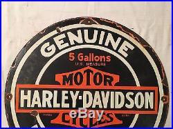 1940's Vintage Porcelain Harley Davidson Enamel Sign