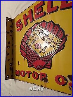 1940's Vintage Porcelain Shell Motor Oil With Flange 2.5'' Enamel Sign
