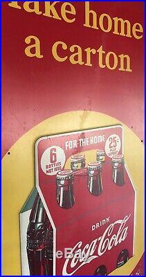 1940s Take Home A Carton Drink Coke Vintage Metal Sign