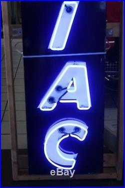 1940s Vintage Pontiac Dealership Vertical Neon Advertising Porcelain Sign