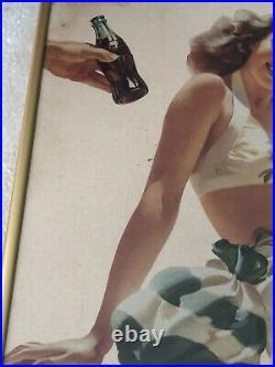 1946, Original, Vintage, Framed, Coca Cola Cardboard YES Sign, Very Scarce