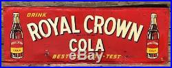 1951 Vintage Drink Royal Crown Cola Best By Taste Test Embossed Metal Sign Nehi