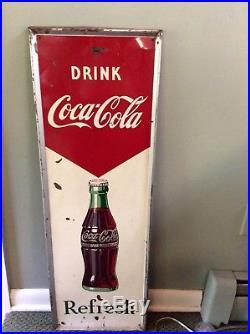 1957 Original Vertical Drink Coca-Cola Refresh Tin Advertising Sign. Vintage