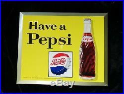 2 Vtg 1960s Pepsi Cola & Teem Lemon Lime Soda 9X11 Metal signs