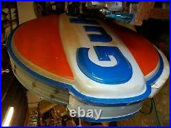 6'4 Vintage Gulf Gas Station Oil Sign Double Side Advertising Service Station