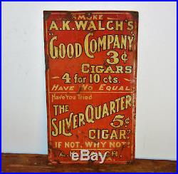 A. K Walch's cigars advertising tin sign vintage retro enamel antique industrial