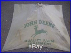 ANTIQUE JOHN DEERE Tractor SUN CANOPY UMBRELLA advertising sign barn farm vtg