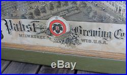 ANTIQUE Vintage Milwaukee Beer Pabst Brewery Lithograph Photo Framed Litho Sign