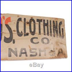 Antique Painted Wooden Haberdasher's Sign c 1890s Vintage Menswear Workwear AAFA