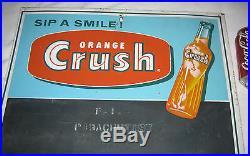 Antique Vintage Orange Crush Soda Bottle Non Porcelain Metal Menu Board Art Sign
