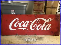 Antique Vintage Original Coca Cola Coke Porcelain Enameled Sign Not Tin