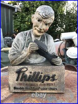 Antique Vintage Rubberoid Phillips Cobbler Advertising Figure Sign Not Enamel