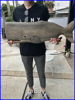 Antique/vintage Nautical Whale Trade Sign Wood Carved