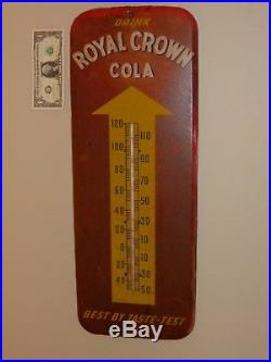 Antqe/Vtg DRANK ROYAL CROWN COLA, Soda Thermometer Sign, 512DONASCO 9-1951, Org, USA