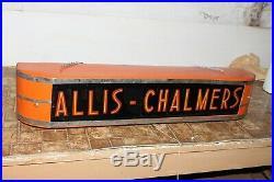 Art Deco Vintage Original ALLIS-CHALMERS Glass Light Up Dealer Sign Advertising