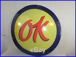 Authentic Vintage 36 Chevrolet OK used car Single Sided Porcelain original Sign