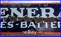 Big Old Vintage Porcelain General Tires Batteries Advertising Store Display Sign