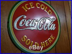 COCA COLA 1933 round sign very nice original early vintage Coke advertising