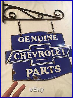 Chevrolet Genuine Parts Service 1940's Vintage Porcelain 2 Sided Enamel sign