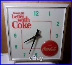 Circa 1960's Vintage Coke Coca Cola Clock Sign Pop Soda Fountain Man Cave