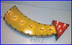 Curved Arrow Vintage Industrial Metal Sign Light Marquee Art Custom Made
