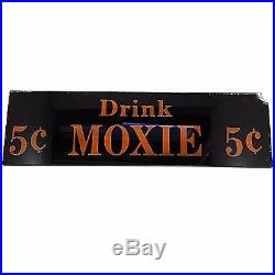 Drink Moxie Glass Sign Vintage Advertising Reverse Painted 5 Cent Black m231