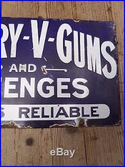 Early Antique Vintage Victory V Gums & Lozenges D/S Enamel Advertising Sign
