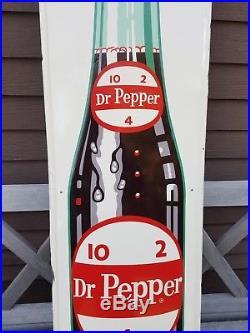 Early Vintage 50s Embossed Dr Pepper Soda Pop Bottle 48 Metal Advertising Sign