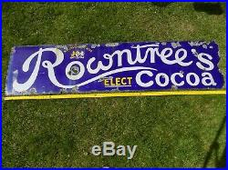 Enamel Sign Rowntrees Elect Cocoa Vintage Rare Type'By Appointment' Logo 1900s