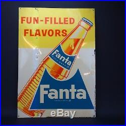 FANTA SODA COLA SIGN Rare Vintage Original Large Metal 20 X 28 not Pepsi or Coke