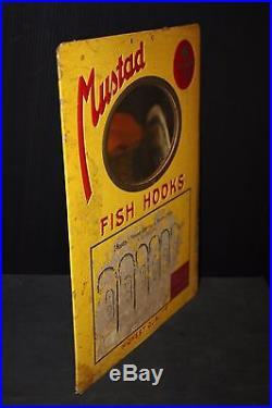 Fish hook vintage 38 sign MIRROR store advertising trade lure flies bait fishing