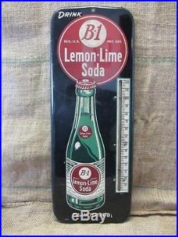 HUGE Vintage 1940s B1 Lemon Lime Soda Thermometer Sign Antique NO MERCURY 9275