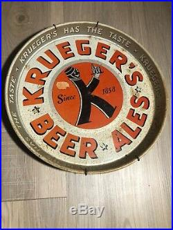 Krueger Beer and Ale on Ice Vintage 1950s Light Up Sign with Two Tin Trays