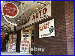 LARGE VinTagE WESTERN AUTO SIGN 20+ FEET LONG Gas Oil PORCELAIN Advertising OLD