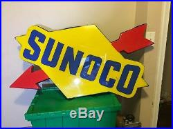 Large Sunoco Single-Sided Light-Up Vintage Service Station Sign With Arrow Logo