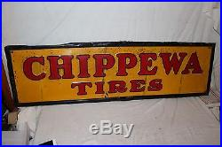 Large Vintage 1938 Chippewa Tires Tire Gas Station Oil 60 Embossed Metal Sign