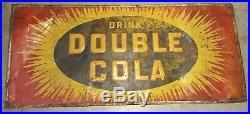 Large Vintage 1940's Double Cola Soda Pop Gas Station 40 Embossed Metal Sign