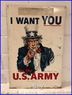 Large Vintage 1940's WWII U. S. Army Uncle Sam 2 Sided 38 Metal Gas Oil Sign