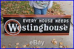 Large Vintage 1940s Westinghouse Appliance Gas Oil 67 Neon Porcelain Metal Sign