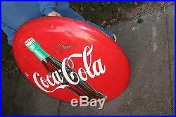 Large Vintage 1950's Drink Coca Cola Button Soda Pop 36 Curved Metal Sign
